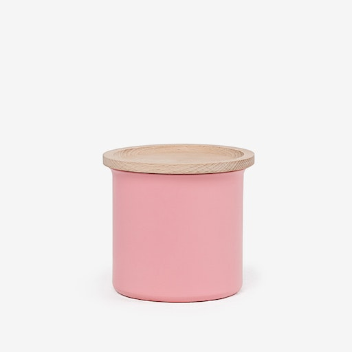 0.5L Ayasa Coloured Jar w/ Wooden Lid - Pink