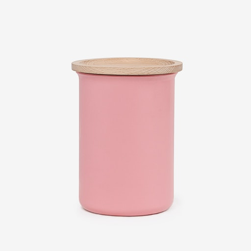 0.75L Ayasa Coloured Jar w/ Wooden Lid - Pink