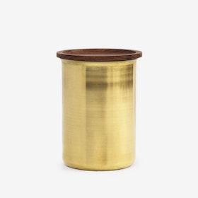 0.75L Ayasa Jar w/ Wooden Lid - Brass