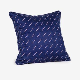 Kantha Stitch 1 Quilted Cushion - Navy Blue