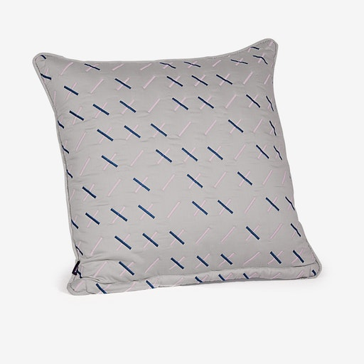 Kantha Stitch 1 Quilted Cushion - Light Grey