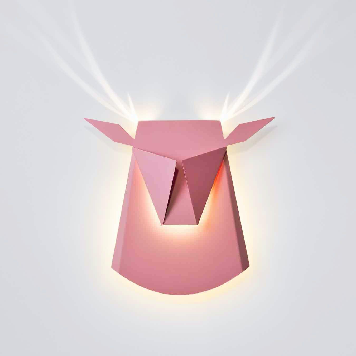 Deer Head Led Light Pink
