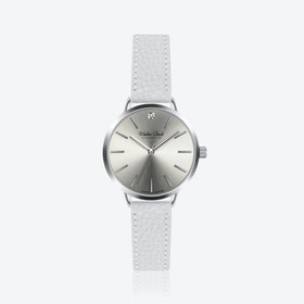 Fussen Watch w/ Lychee White Leather Strap