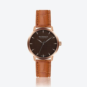 Aachen Watch w/ Croco Ginger Brown Leather Strap
