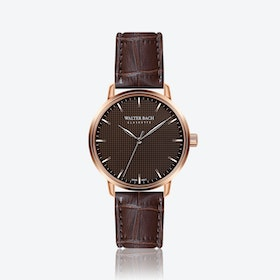 Aachen Watch w/ Croco Brown Leather Strap