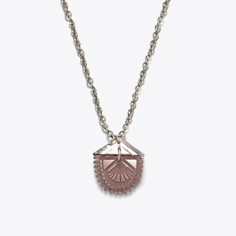Tiny Lotus Necklace in Rose Gold