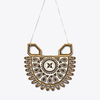 Maharani Necklace in Wood & Rose Gold