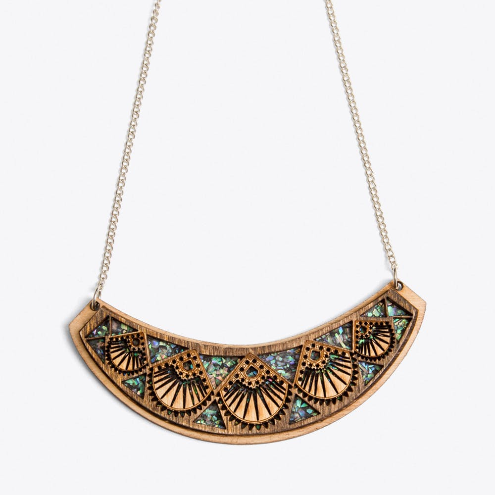 Raja Necklace in Wood and Silver