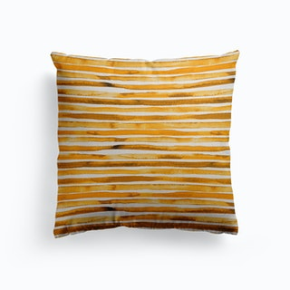 Watercolor Stripes Yellow Canvas Cushion