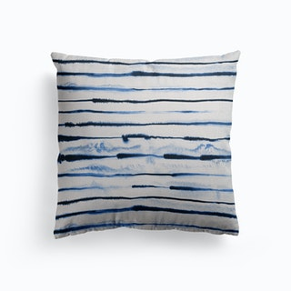 Electric Ink Lines White Canvas Cushion