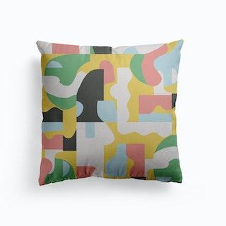 Organic Matisse Blocks Pink Mustard Canvas Cushion