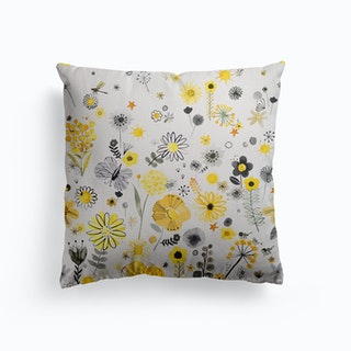 Positive Watercolor Flowers Yellow Canvas Cushion
