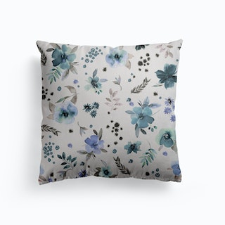 Countryside Watercolor Floral Blue Canvas Cushion