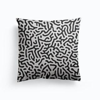 Organic Digital Shapes Black Canvas Cushion