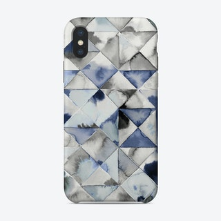 Moody Triangles Cold Blue Phone Case