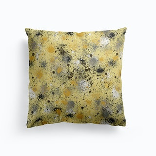 Ink Dust Splatter Yellow Cushion