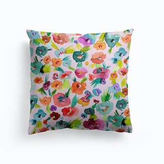 Tropical Watercolor Flowers Cushion