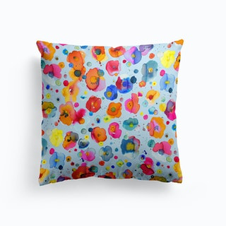 Bohemian Naive Flowers Blue Cushion