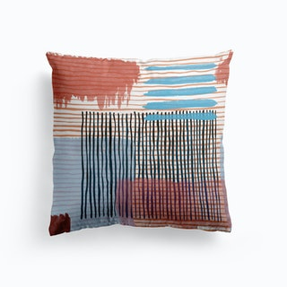 Abstract Striped Geo Red Cushion