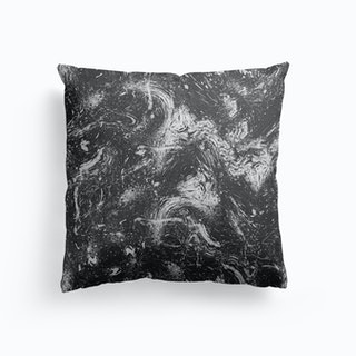 Abstract Dripping Painting Black White Cushion