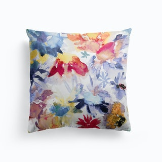Watercolor Spring Floral Memories Multicolored Cushion