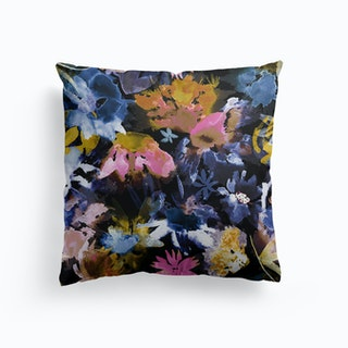 Watercolor Spring Floral Memories Black Cushion