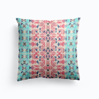 Boho Nomadic Tribal Coral Pastel Cushion