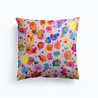 Bohemian Naive Flowers Pink Cushion