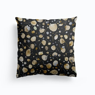 Flying Seeds Gold Silver Cushion