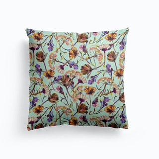 Dry Blue Flowers Collage Cushion