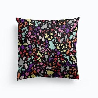 Splatter Dots Multicolored Black Cushion