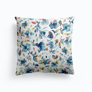 Watery Hibiscus Blue Gold Cushion