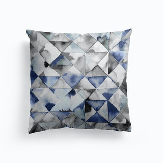 Moody Triangles Cold Blue Cushion