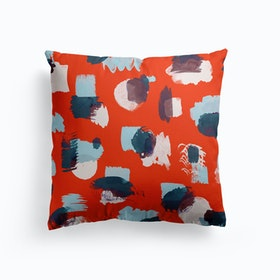 Abstract Stains Coral Cushion