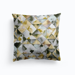 Moody Triangles Gold Silver Cushion
