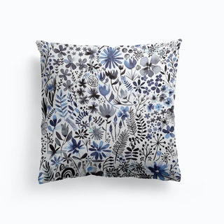 Winter Ink Flowers Cushion
