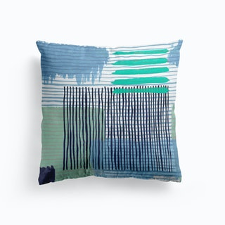 Abstract Striped Geo Green Cushion