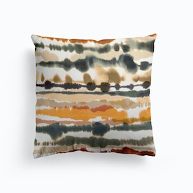 Soft Nautical Watercolor Lines Brown Cushion