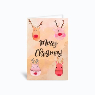Cute Reindeers Happy Christmas Greetings Card