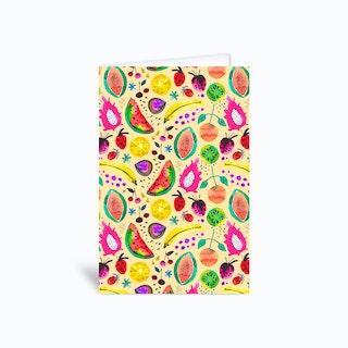 Tropical Papaya Pitaya Fruits Greetings Card