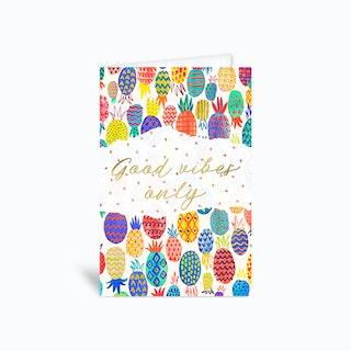 Good Vibes Pineapples Greetings Card