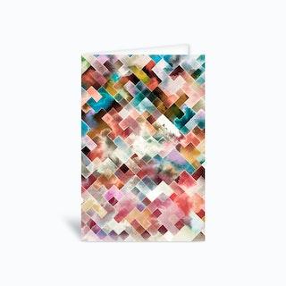 Moody Geometry White Pink Greetings Card
