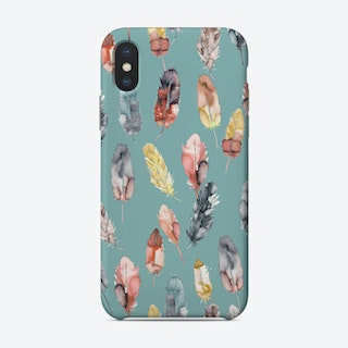 Watercolor Boho Feathers Yellow Soft Teal Phone Case