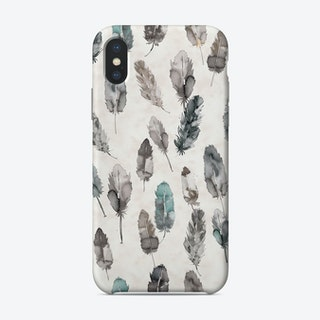 Watercolor Boho Feathers Teal And Grey Phone Case