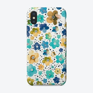 Dots Naive Flowers Blue Multi Ocre Phone Case