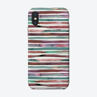Watercolor Stripes Red And Green Phone Case