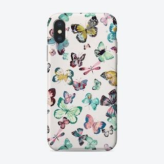 Watercolor Butterflies Pink Green Phone Case