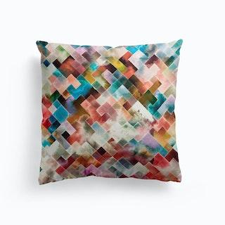 Moody Geometry Multi White Cushion