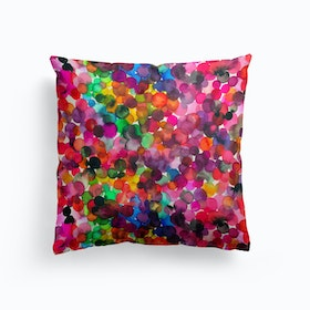 Overlapped Watercolor Dots Cushion
