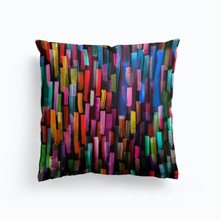 Colorful Brushstrokes Black Cushion